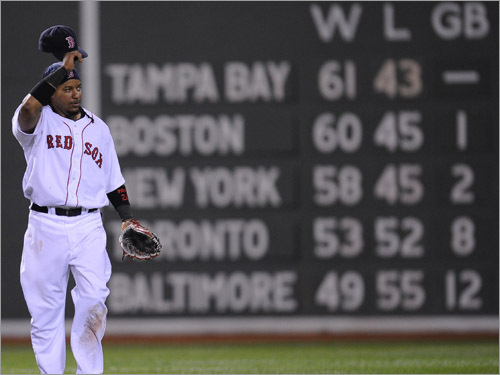 Red Sox left fielder Manny Ramirez walks off the field after the Boston Red Sox defeated the New York Yankees.