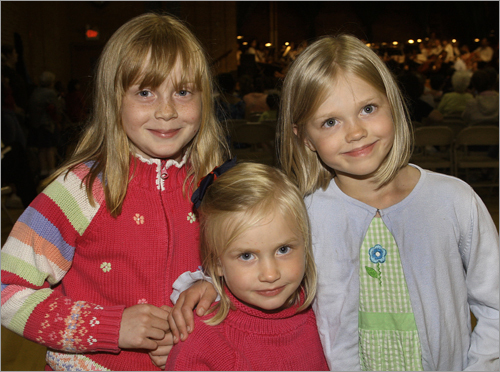 July 27 in Dorchester From left: Elizabeth Blanchard of Roslindale with her sisters Nora and Clare.