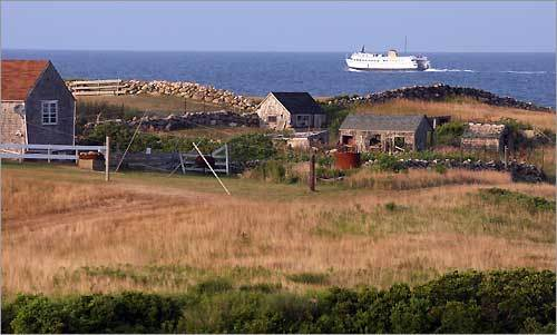 A ferry boat departs Block Island for Point Judith, 12 miles away on the Rhode Island mainland.