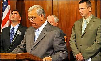 Mayor Thomas Menino speaks to reporters about the deadly fire in West Roxbury on Aug. 29, 2007.
