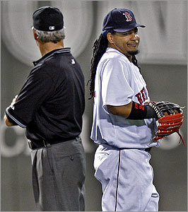 Manny Ram&#237;rez&#146;s expression after a chat with second base umpire Mike Reilly could also be indicative of his feelings for the Sox.