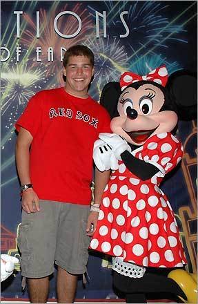 Laurie K. Beals submitted this photo of nephew Evan from Wells, Maine at Epcot Center. 'Even Minnie Mouse loves the Red Sox and their fans.'
