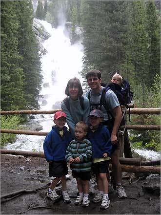 Charles, Allan, William, Madeleine, Brian, and Luke show off their Sox pride during a trip to Hidden Falls, Grand Teton National Park, WY.