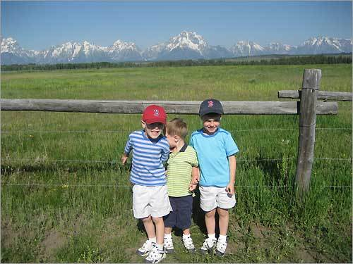 Sox fans Charles, Allan, and William take in the sights of the Grand Teton National Park.