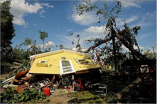 This house on Lake Road in Epsom, N.H., was flattened by a tornado that hit Epsom and Deerfield on July 24.