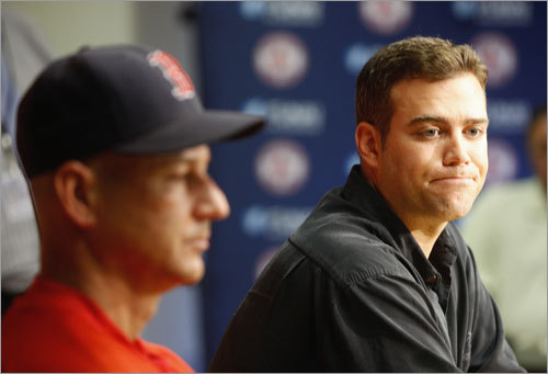 Terry Francona (left) and Theo Epstein addressed the media Friday and discussed the blockbuster trade of the day before. 'There was an environment that was not conducive to winning surrounding this club,' said Epstein. 'We wanted to change that if we could. We also wanted to make a good baseball trade.'