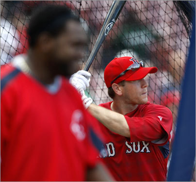 When he was done fielding, Bay took batting practice (with David Ortiz in the foreground)