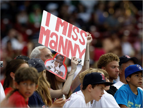 At least one fan is sad to see Manny out in Los Angeles.