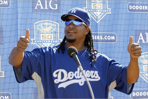 A day after his trade from the Red Sox, Manny Ramirez was introduced to the Los Angeles media Friday evening.