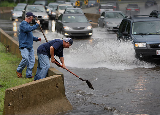 A powerful storm on July 24th flooded roads across New England, like this one in Natick.