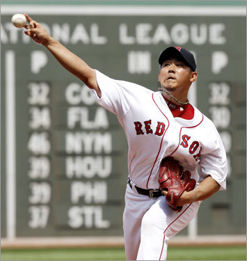 Daisuke Matsuzaka fanned eight A's over six innings at Fenway Park.