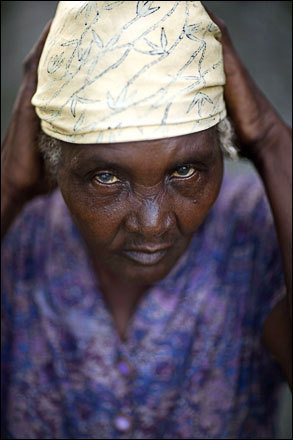 Farmer Angelina Fontiliz, 79, poses for a photo at her home in Cabaret, Haiti, Thursday, July 10, 2008.
