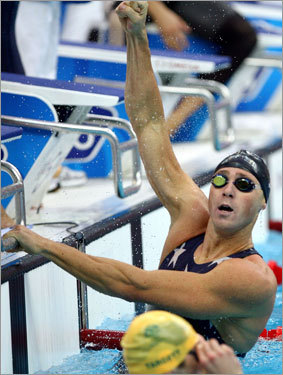 ...and touched it first, winning the gold by .08 seconds in the closest finish in the event in Olympic history, one that set a new world record (3:08.24) that chopped 3.99 seconds off the mark that the US had set in yesterday's prelims.