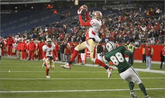 Everett's Jim Noel makes an end zone interception on a pass intended for Dartmouth's Arthur Fontaine during the Division 1 Super Bowl in December.