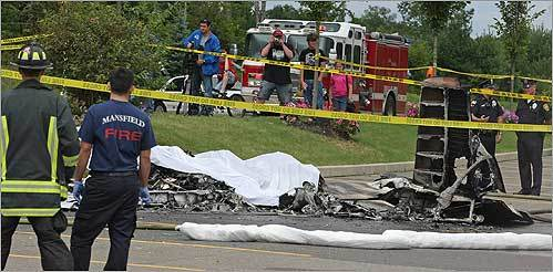 A small plane crashed in the parking lot of a supermarket in Easton on Tuesday, Aug. 11. A cancer patient on his way to Dana-Farber Cancer Institute from Westhampton Beach, N.Y., his wife, and the pilot died in the crash.