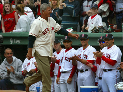 Yastrzemski made his way back to Fenway for special events, such as the Red Sox 2005 home opener, during which the team celebrated the 2004 World Series win.