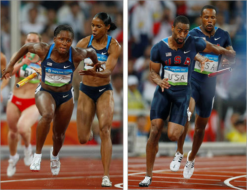 The American men's and women's 400-meter relay teams both misconnected on the final handoffs in their preliminaries Thursday, a pair of stunning setbacks that made it that much easier for the Jamaicans to say the Bird's Nest is really their house.