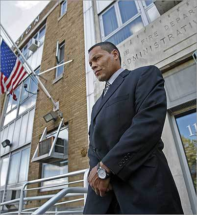 Former Boston firefighter and bodybuilder Albert Arroyo left Fire Department headquarters after attending a hearing Tuesday at which he appealed the department's decision to remove him from the payroll.