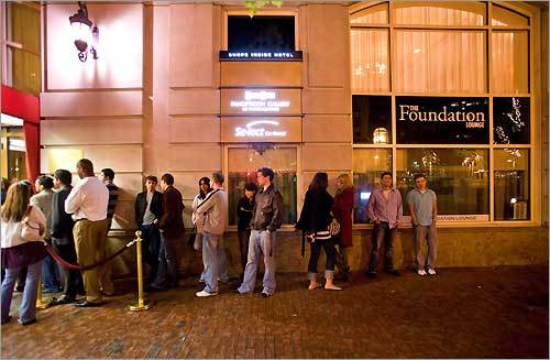 On weekends, the line to get into the swank Foundation Lounge - located adjacent to Hotel Commonwealth - can stretch down the block.