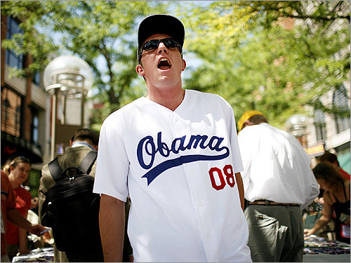 Edward Lederman, of Denver, sells jerseys and t-shirts supporting US Senator Barack Obama's bid for the presidency on the 16th Street Mall in Denver. Lederman found the opportunity to sell the shirts on Craigslist, when two of the shirts' designers were looking for a vendor in Denver.
