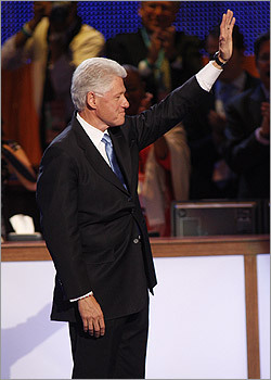 Former US President Bill Clinton waved to the crowd after speaking.
