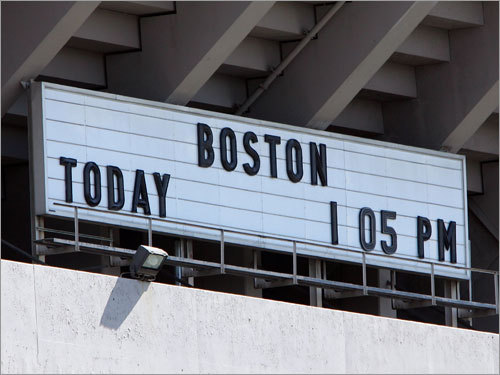 This sign outside Yankee Stadium is updated with the day's opponent, and today could be the last time the sign has the Sox on it.