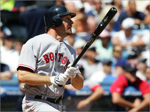 Newcomer Mark Kotsay made a fine debut, doubling in his first Red Sox at-bat in the top of the second.