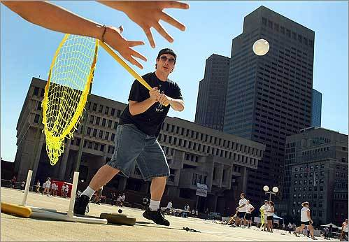 During Wiffle Ball Tournament hosted by Mayor Menino at City Hall Plaza on Aug. 23, Chris Sullivan, of Stratham, N.H., watched a pitch outside the strike zone for a ball.