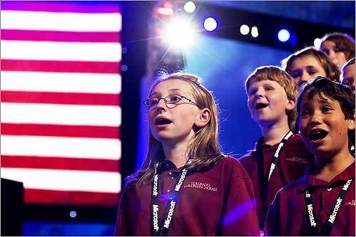 Makenzie Keely, 12, of Castle Rock, Colo., practiced the National Anthem with the Colorado Children's Chorale hours before their performance at the start of the first day of the Democratic National Convention Aug. 25.
