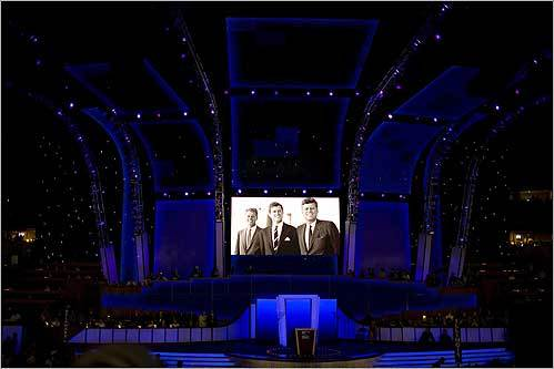 During a tribute video for Senator Edward M. Kennedy, an old photograph of the Kennedys was shown at the Democratic National Convention in Denver Aug. 25.