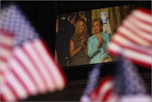 Hillary Clinton and her daughter, Chelsea, watched President Bill Clinton address the Democratic National Convention Aug. 27.