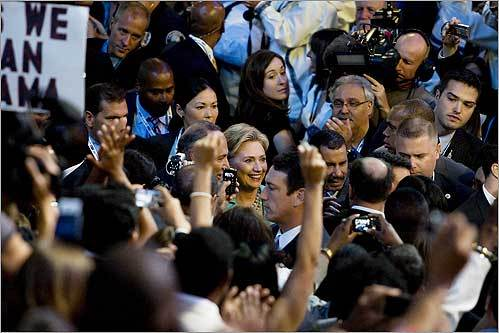 Senator Hillary Clinton entered the Pepsi Center in Denver Aug. 27 for New York State's roll call for the Democratic presidential nominee.