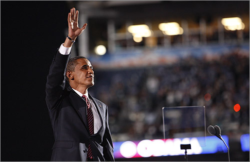 Democratic presidential nominee U.S. Senator Barack Obama took the stage to a rousing ovation.