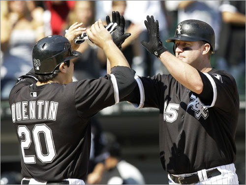White Sox (77-61) Tied, 1st (AL Central) Tied, 2d (wild card) Sluggers Carlos Quentin and Jim Thome (left) are trying to power the Chisox into October. They'll play 10 of their their 13 remaining home dates in a stretch that begins Friday - facing the Angels, Blue Jays, and Tigers - followed by 10 on the road, including a crucial three-game series with the Twins, with whom they currently share the AL Central lead.