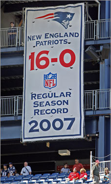 The Patriots have put up a banner in the north end zone area of Gillette Stadium commemorating their perfect 2007 regular season perfect 16-0 record.