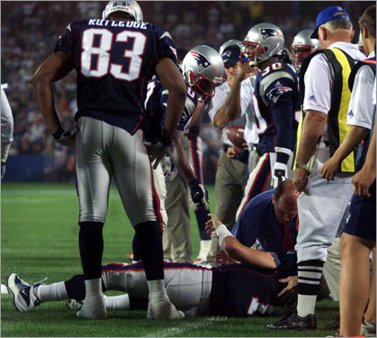 Drew Bledsoe It was the hit that launched Tom Brady's career. Mo Lewis slammed Bledsoe to the ground in a September game in 2001, resulting in a serious chest injury that kept Bledsoe on the sideline most of the season. Brady took over for Bledsoe, and the rest is history.