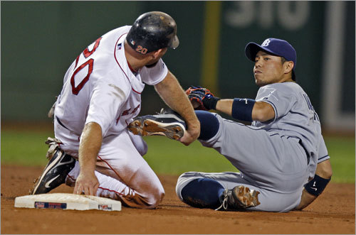 Kevin Youkilis and Tampa 2B Akinori Iwamura tangled after a close play at second base in the fourth inning.