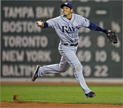 Bartlett did his part to help keep the Rays at the top of the AL East, flipping back to Iwamura to get Youkilis at second.