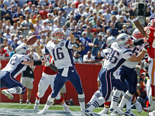 But when Brady left the game after he was hit by KC's Bernard Pollard, Cassel (16) was thrown into the center of the action. From his own end zone, he competed a 51-yard pass to Randy Moss that eventually led to a Patriots touchdown. In that first game, he was 13 of 18 for 152 yards in leading the team to victory.
