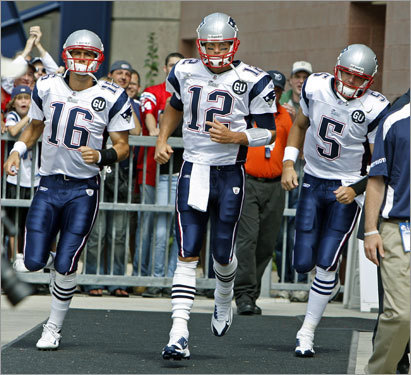 Season opener Cassel (left) entered the Sept. 7 season opener against Kansas City as the backup to Tom Brady (center), the reigning NFL MVP.