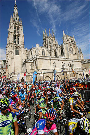 Cyclists start the 12th stage of the Tour of Spain between Burgos and Suances on September 11, 2008. Italy's Paolo Bettini of the Quick Step team won the stage while Italy's Davide Rebellin of Gerolsteiner finished in second and Italian Damiano Cunego of Lampre was third. Spaniard Egoi Martinez of Euskaltel retained the race leader's gold jersey after the 186.4 km race between Burgos and Suances which saw title contender Alejandro Valverde lose time in the overall standings.