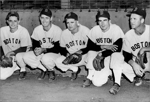 Pesky as a player Pesky started his career with the Red Sox in 1942, batting .331 as a rookie. He served in World War II from 1943-45, and returned to the Red Sox in 1946. He played in Boston from 1946-1952, when he was traded to the Tigers. Pesky, who retired as a player in 1954, finished with a career .307 average. (Pictured from left to right: Dom DiMaggio, Ted Williams, Bobby Doerr, Johnny Pesky, and Joe Dobson pose for a picture Sept. 25, 1950. )