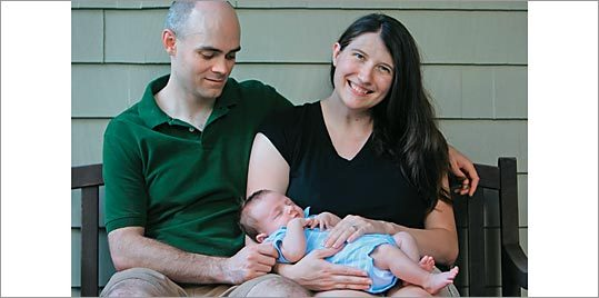 THE DIAPER DEBATE Like many parents, Jason and Quenby Hughes (with their son, Reilly) prefer cloth diapers to disposables.