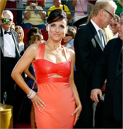 Actress Julia Louis-Dreyfus, of Seinfeld fame, often wears an up-do similar to Palin's hairstyle.