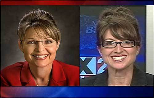 Maine TV news anchor Cindy Michael (right) has been getting 'hate mail and nasty phone calls' from viewers recently who accuse her of copying the look of Republican VP candidate Sarah Palin (left). 'It's really just a huge coincidence,' Michaels says about the similarity. Michaels isn't the only personality who may be mistaken for the Alaska governor -- scroll through this gallery for more Palin look-alikes.