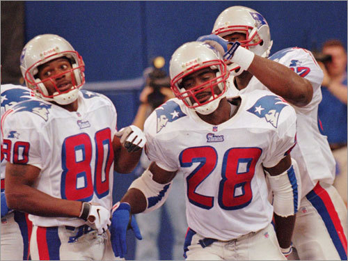 (left to right) Brown, Curtis Martin and Ben Coates made up the meat of the 1997 Patriots offense.