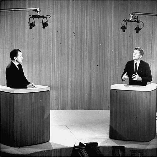Looks do matter The first televised debate between Senator John F. Kennedy and Vice President Richard Nixon had an audience of 80 million and was a defining moment in the election. Although Nixon was known as an excellent debater, Kennedy, with his calm composure and with the help of a make-up artist, looked confident and young. Nixon, who applied no make-up, perspired under the heat of the camera lights. Although Nixon held his own in the comments, Kennedy emerged as the star.