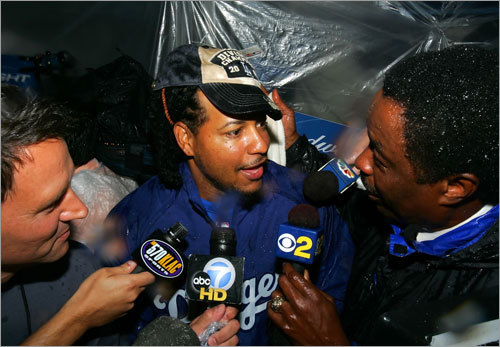 Manny Ramirez is interviewed after clinching the National League West title after the game against the San Diego Padres at Dodger Stadium on Thursday.