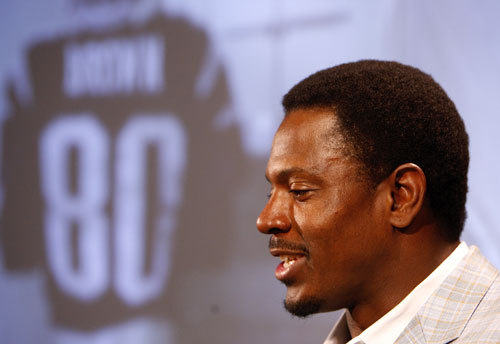 New England Patriots wide receiver Troy Brown at his official announcement that he is retiring from a long and stellar professional football career with the Patriots.