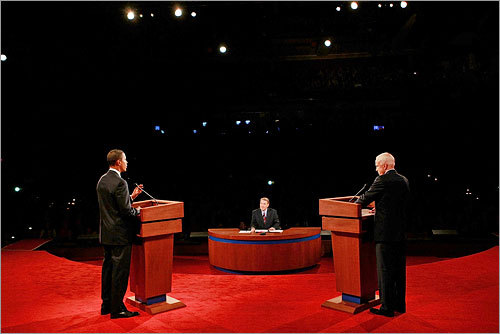 The debate, which was initially scheduled as a foreign policy discussion, took on an economic focus at the start as moderator Jim Lehrer probed the candidates on how to fix the current financial crisis.
